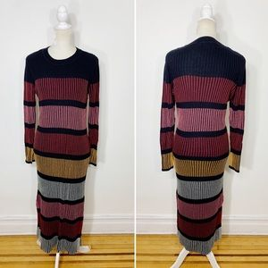 H&M knit striped long sleeve sweater mmidi dress